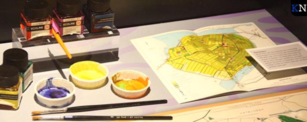 Het werkblad van Jan Schilder zoals gevisualiseerd op de expositie in Museum Nieuw Land.