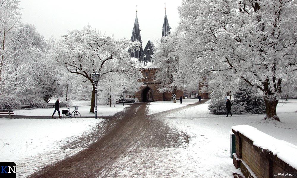 Het Stadspark van Kampen in winterse sferen.