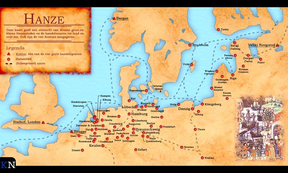 Een oude kaart met de routes en steden van het Hanzeverbond.