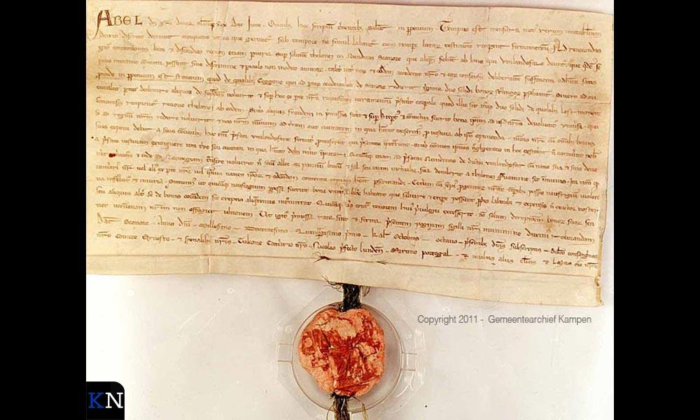 Charter van Abel over het eerste privilege in 1251 (bron: Stadsarchief Kampen).