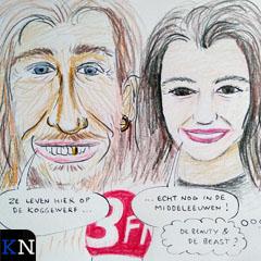 Een cartoon van Frank en Eva van de hand van Prikje.