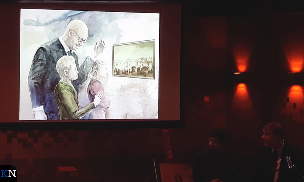 Beeld uit de graphic novel met burgemeester en kleinzoon