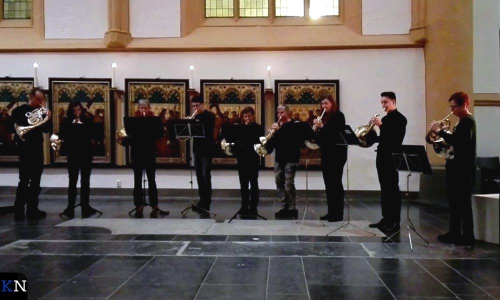 Het hoornensemble van Quintus trad in 2016 op in de Buitenkerk.