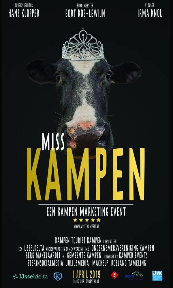 Voor de verkiezing Miss Kampen 2019 is een filmposter ontwikkeld.