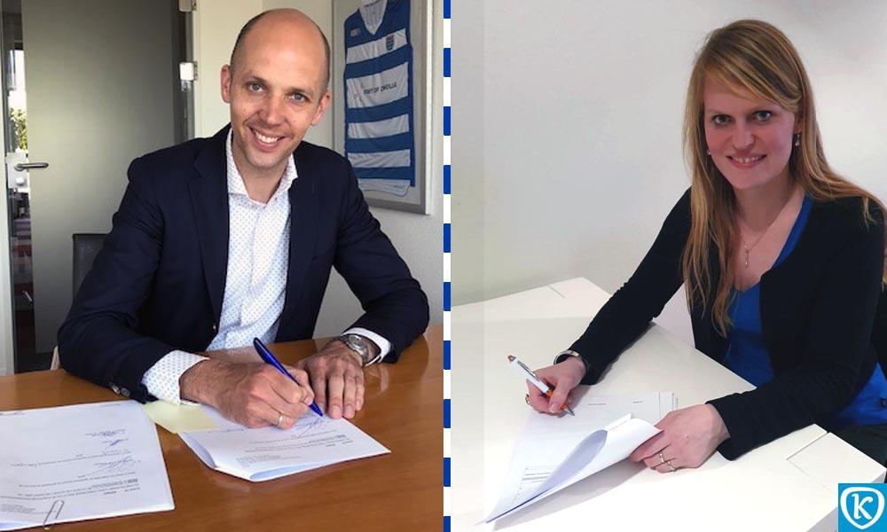 Geert Meijering en Daphne Neijmeijer ondertekenen de opstalovereenkomst.