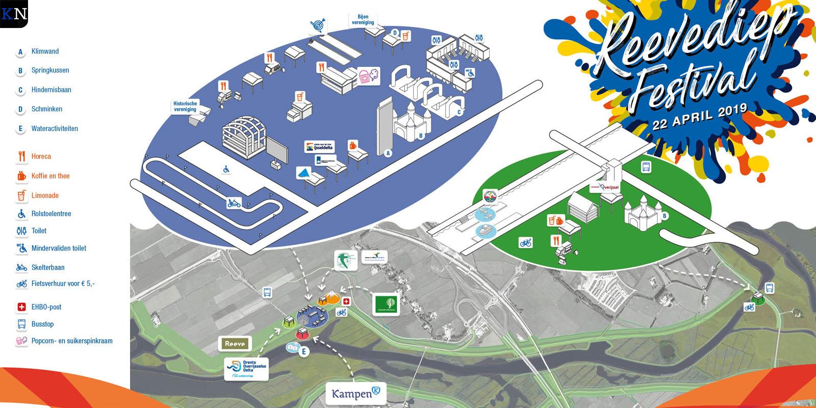 Een plattegrondje van het Reevediep ten tijde van het festival.