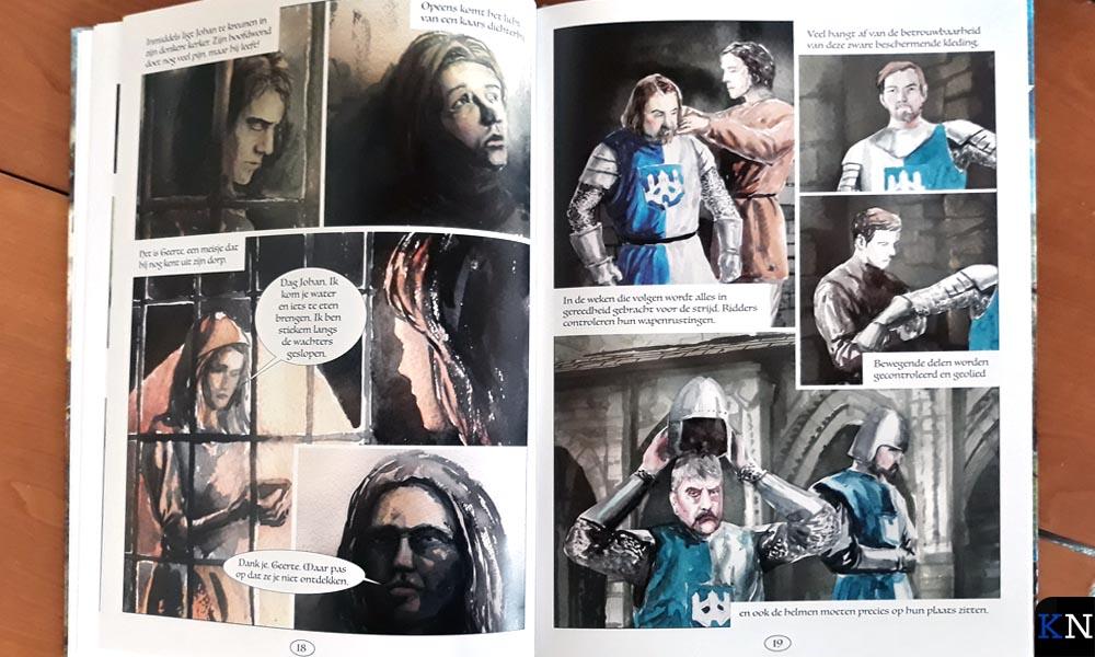 Twee bladzijdes uit het nieuwe stripalbum 'Het einde van de roofridder'.
