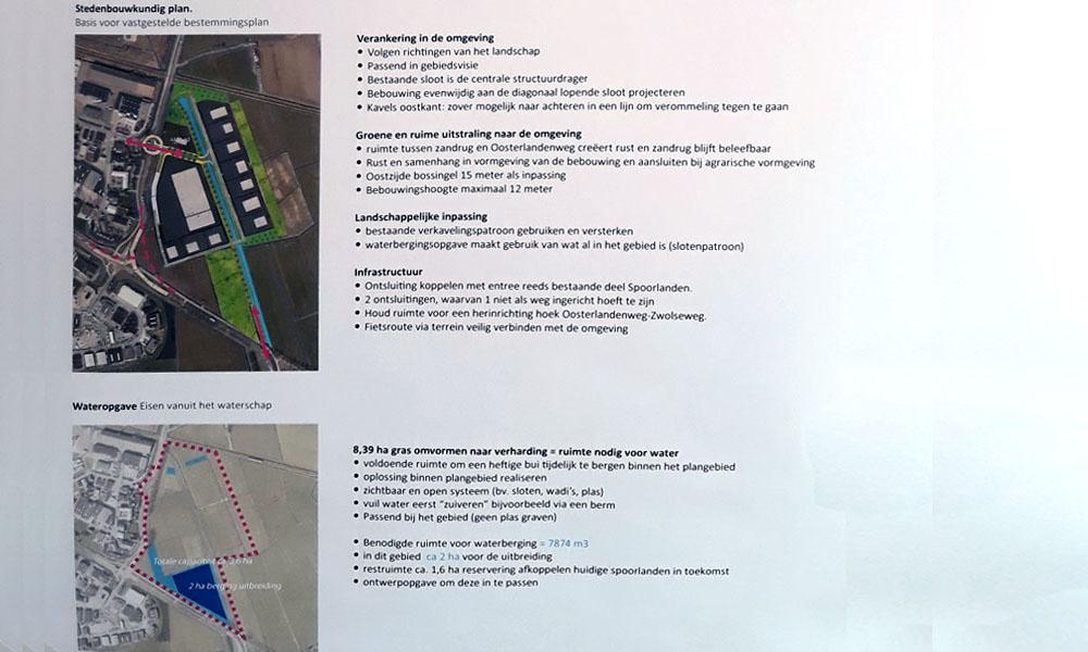 Eén van de informatiebladen met het stedebouwkundig plan en de waterschapseisen.
