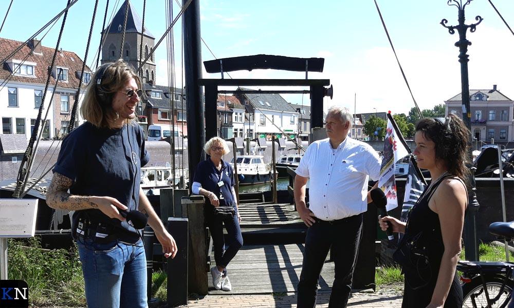 V.l.n.r. Frank van der Lende, Ina Hup, Albert Holtland en Eva Koreman op de Koggewerf.