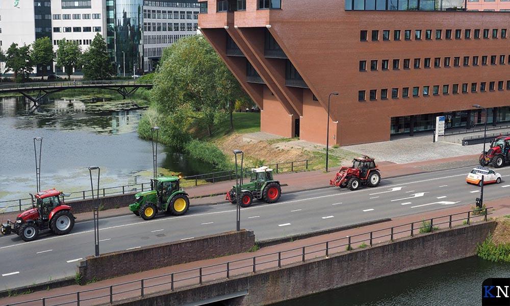 Demonstrerende boeren in het centrum van Zwolle.