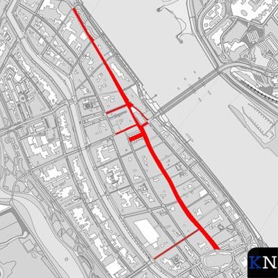 Een kaartje van het afgesloten winkelgebied in de binnenstad van Kampen.