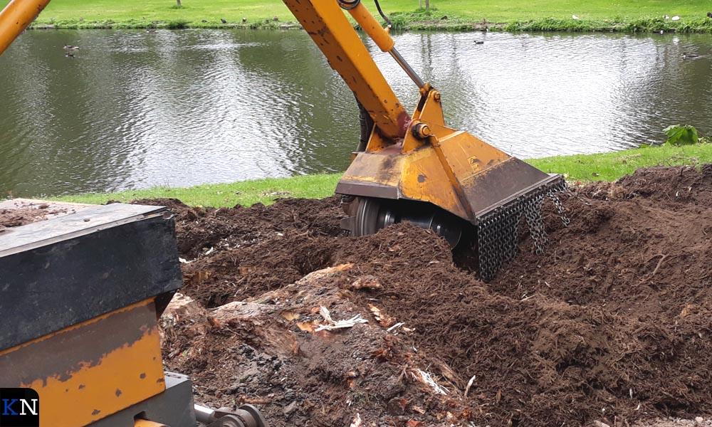 De stronk wordt geheel gefreesd om te verwijderen uit de grond.