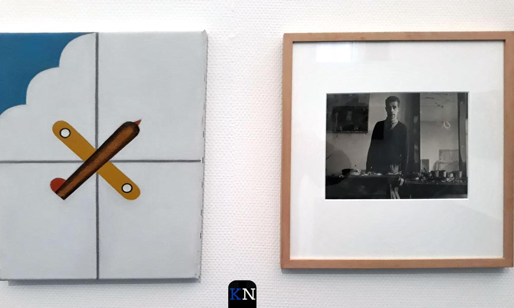 Het kunstwerk van Jan Roeland naast een foto van hem.