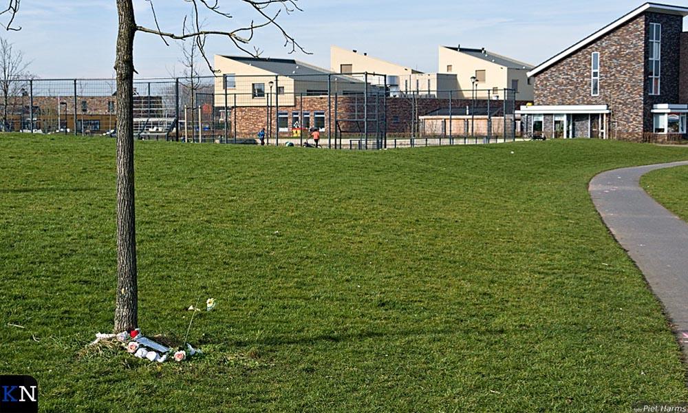 Het grasveld waarop het dodelijk ongeluk plaats vond.