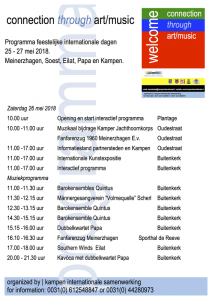 Het kunstprogramma op zaterdag 26 mei 2018 in de Buitenkerk.