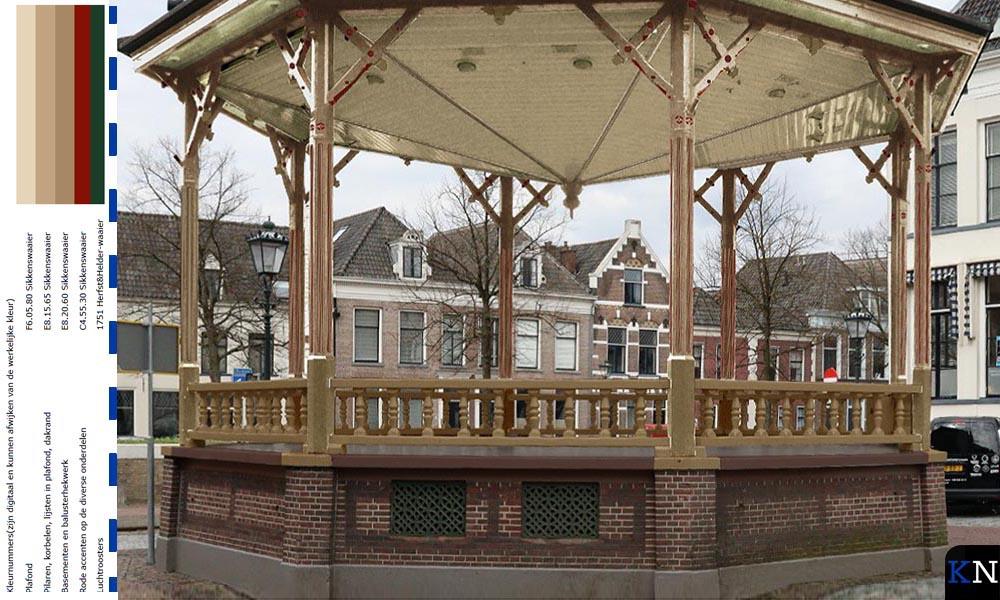 Oorspronkelijke kleuren muziektent Nieuwe Markt Kampen.
