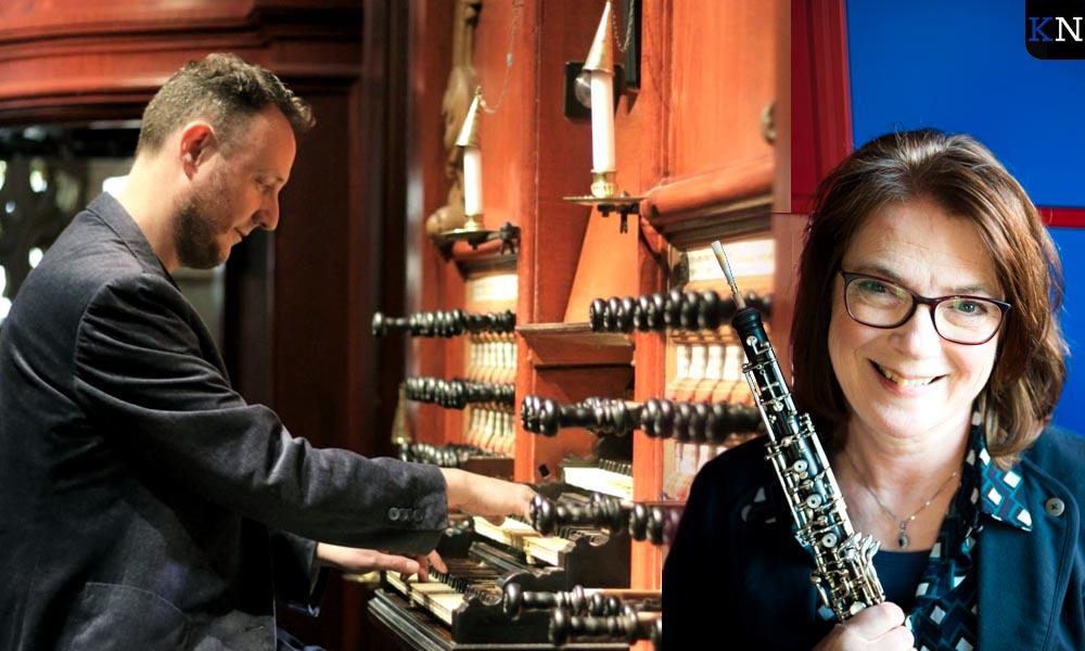 Gerwin van der Plaats op orgel en Evelyn Heuvelmans op hobo.